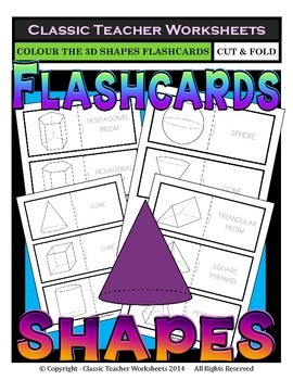 3D Shapes Flashcards - Colour the Flashcards - Grades 3-6 (3rd-6th Grade)