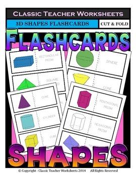 3D Shapes Flashcards - Cut & Fold - Grades 3-6 (3rd-6th Grade)
