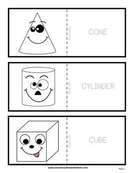 3D Shapes with Faces Flashcards-Colour the Flashcards-Grades 2-4 (2nd-4th Grade)