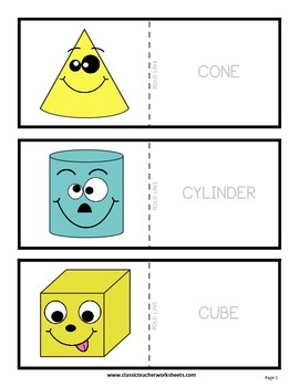 3D Shapes with Faces Flashcards - Cut & Fold - Grades 3-6 (3rd-6th Grade)