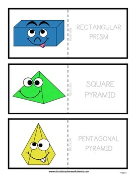 3D Shapes with Faces Flashcards - Cut & Fold - Grades 2-4 (2nd-4th Grade)