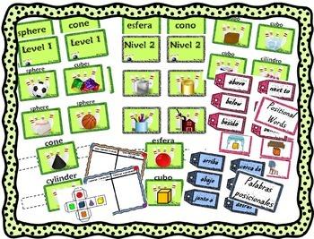 Geometric Shapes Game-Centers Juego de figuras--Bilingual Stars Mrs Partida