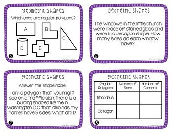 Geometric Shapes Task Cards for 3rd Grade