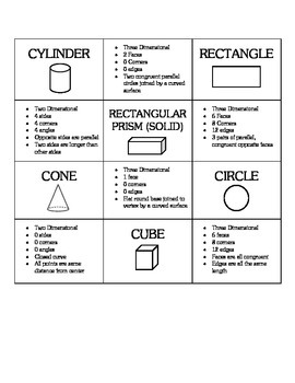 Geometric Shapes Memory Game - Activity Materials