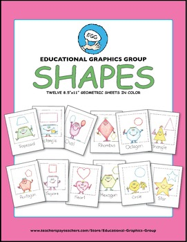 """Geometric Shapes Mini-Posters in Color - 8.5"""" x 11"""""""