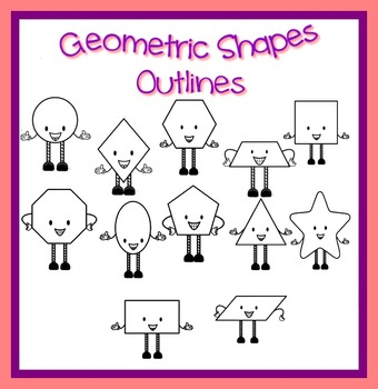 Math -Geometric Shapes Outlines Transparent and Transparent with white fill