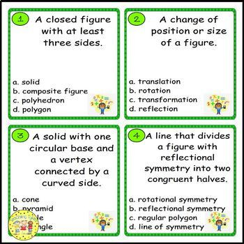 Geometric Shapes Pre-Algebra Task Cards