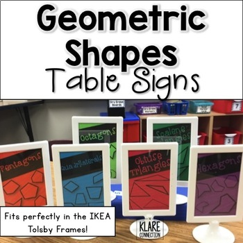 Geometric Shapes Table Names {Fits into 4x6 Frames}