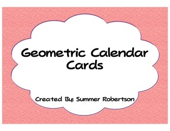 Geometric Shapes and Patterns Calendar Cards