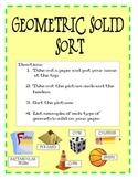Geometric Solid Shape Sort - Independent Math Center