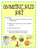 Geometric Solid Shape Sort - Independent Math Center