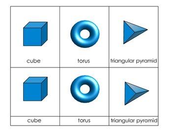 Geometric Solids 3D Shapes Montessori Cards FREEBIE