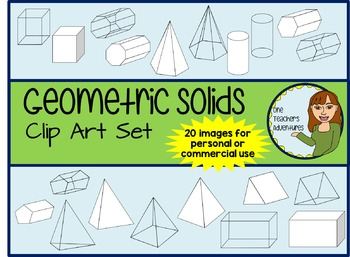 Geometric Solids Clip Art Set - 20 images for commercial or personal use
