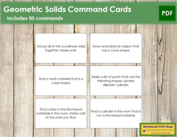 Geometric Solids: Command Cards