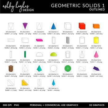 3D Geometric Solids Clipart {A Hughes Design}