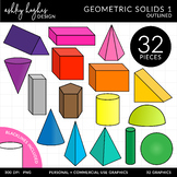 3D Geometric Solids Clipart - Outlined - [Ashley Hughes Design]