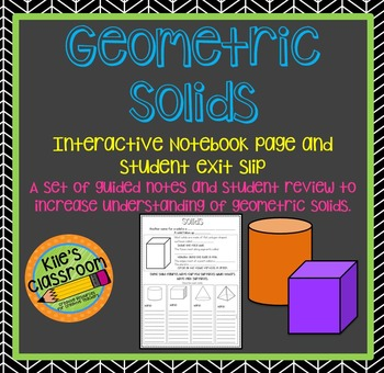 Geometric Solids Interactive Notebook Pages - Guided Notes for Solids