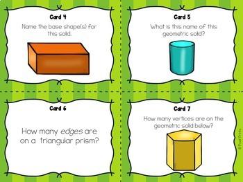 Geometric Solids Task Cards, Math Center