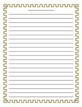 Geometric Square Pattern Border Lined Paper