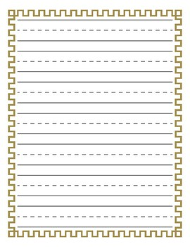 Geometric Square Pattern Border Lined Paper