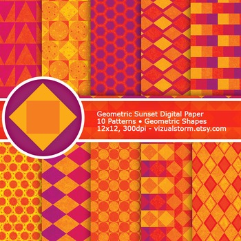 Geometric Sunset Digital Paper - 10 Gingham and Diamond Printable Backgrounds
