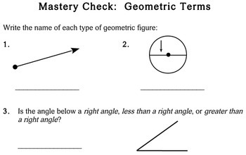 Geometric Terms, 3rd grade - Individualized Math - worksheets