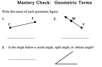 Geometric Terms, 4th grade - Individualized Math - worksheets
