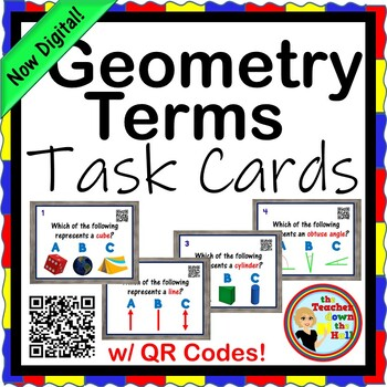 Geometric Terms Task Cards - 24 Cards w/ QR Codes