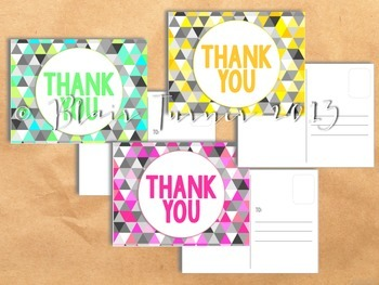 Geometric Thank You Postcards