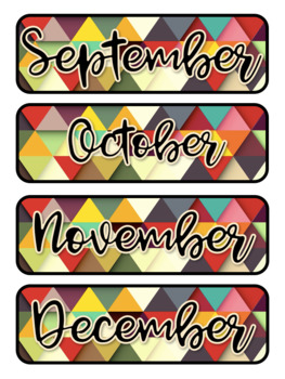 Geometric Themed Pocket Chart Subject Schedule Cards & Calendar