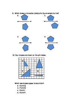 Math VA SOL 4th Geometric Transformations