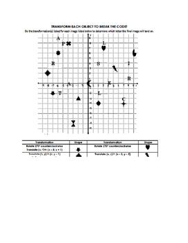 Geometric Transformations Code Breaker Activity