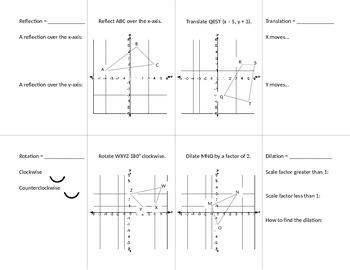 Geometric Transformations Foldable