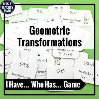 """Geometric Transformations """"I Have, Who Has"""" Game"""
