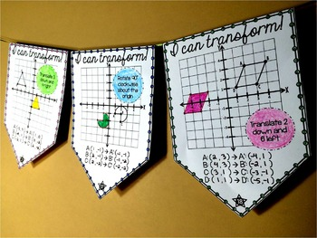 Geometric Transformations Math Pennant Activity for all 4 quadrants