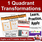 Geometric Transformations   Quadrant 1   Lesson with Activities and Escape Room