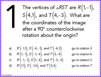 Geometric Transformations Stations Maze Activity