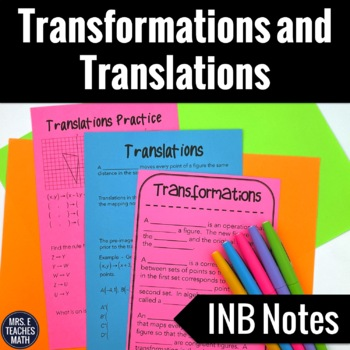 Geometric Transformations and Translations Interactive Notebook Page