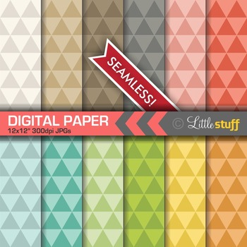 Geometric Triangles Digital Papers, Modern Triangles Digital Backgrounds