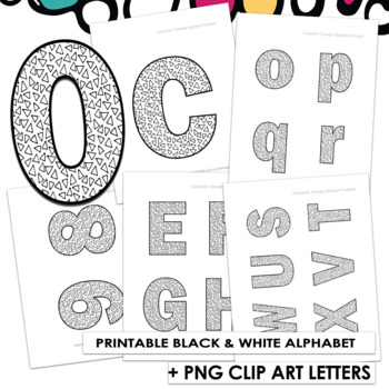 Geometric Triangles Printable Bulletin Board Letters | Alphabet ClipArt PNG