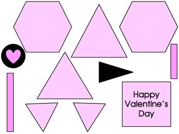 Valentine Geometric Heart 2D Shapes