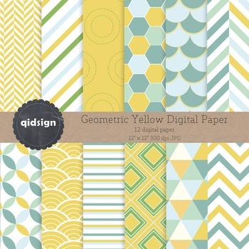 Geometric Yellow Digital Paper - Chevron Stripes - Backgrounds
