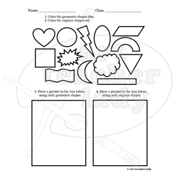 Geometric and Organic Shape Worksheet by Art for All | TpT