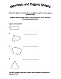 Geometric and Organic Shapes worksheet