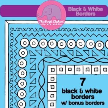Geometric black & white Page Borders
