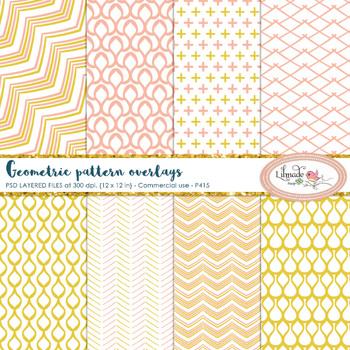Geometric patterns overlays, paper templates, PSD layered templates