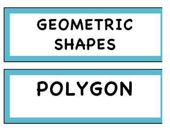 Geometric shapes word wall