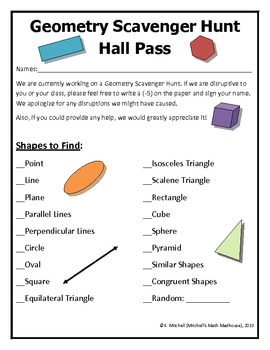Geometrical Shapes Scavenger Hunt