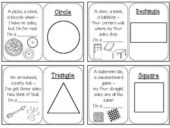 Geometrical figures riddles cards B/W (square, triangle, rectangle, circle)