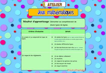 Géométrie, Atelier de jeux mathématiques, les types de lignes